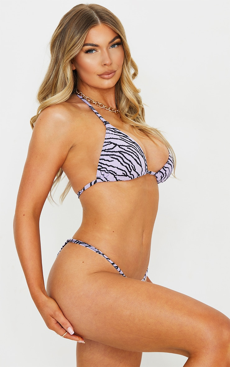 Lilac Zebra Texture Mini Adjustable Tanga Bikini Bottoms 3