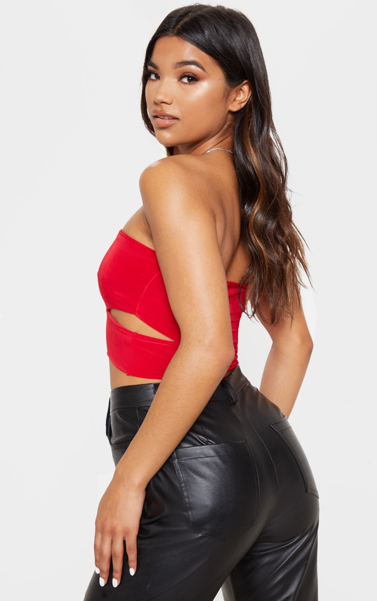 Denise Red Cut Out Side Slinky Bandeau 3