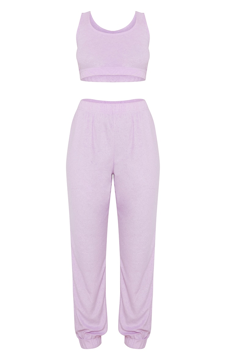 Lilac Towelled Bralet And Joggers Lounge Set With Scrunchie 5