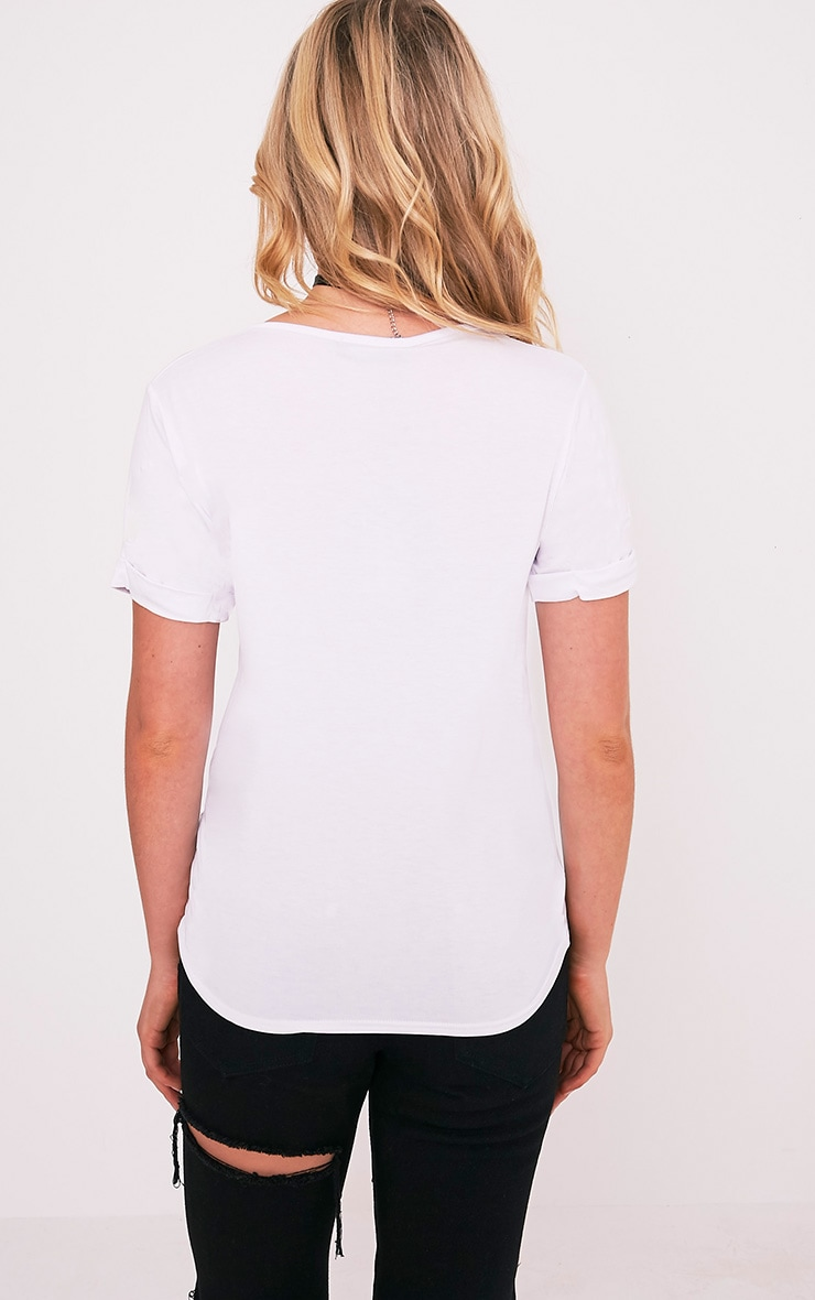 Basic White V Neck Oversized T-Shirt 3