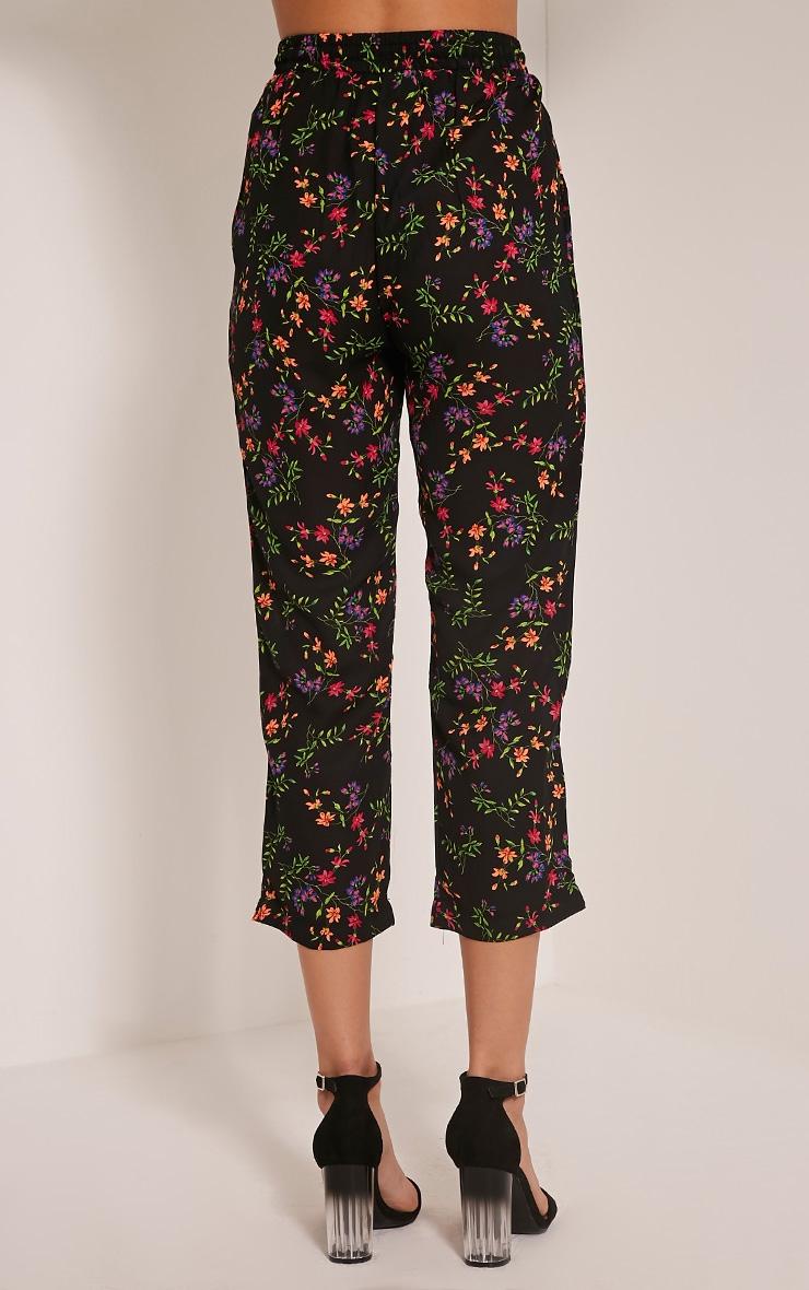 Diya Black Ditsy Floral Cropped Trousers 5