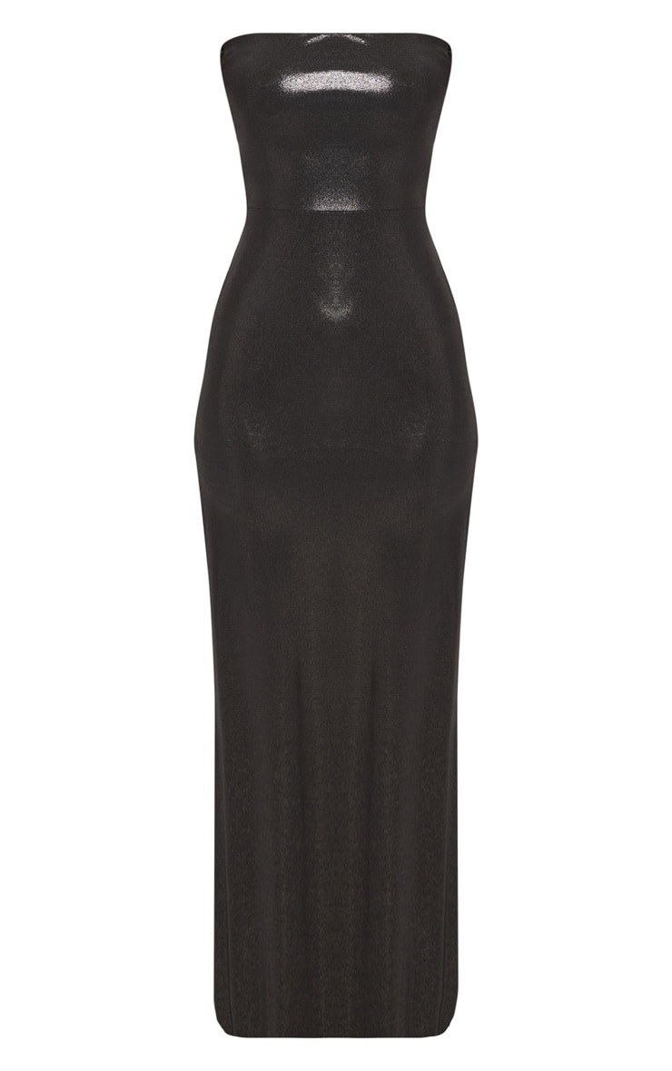 Black Bandeau Metallic Lace Up Back Maxi Dress 3