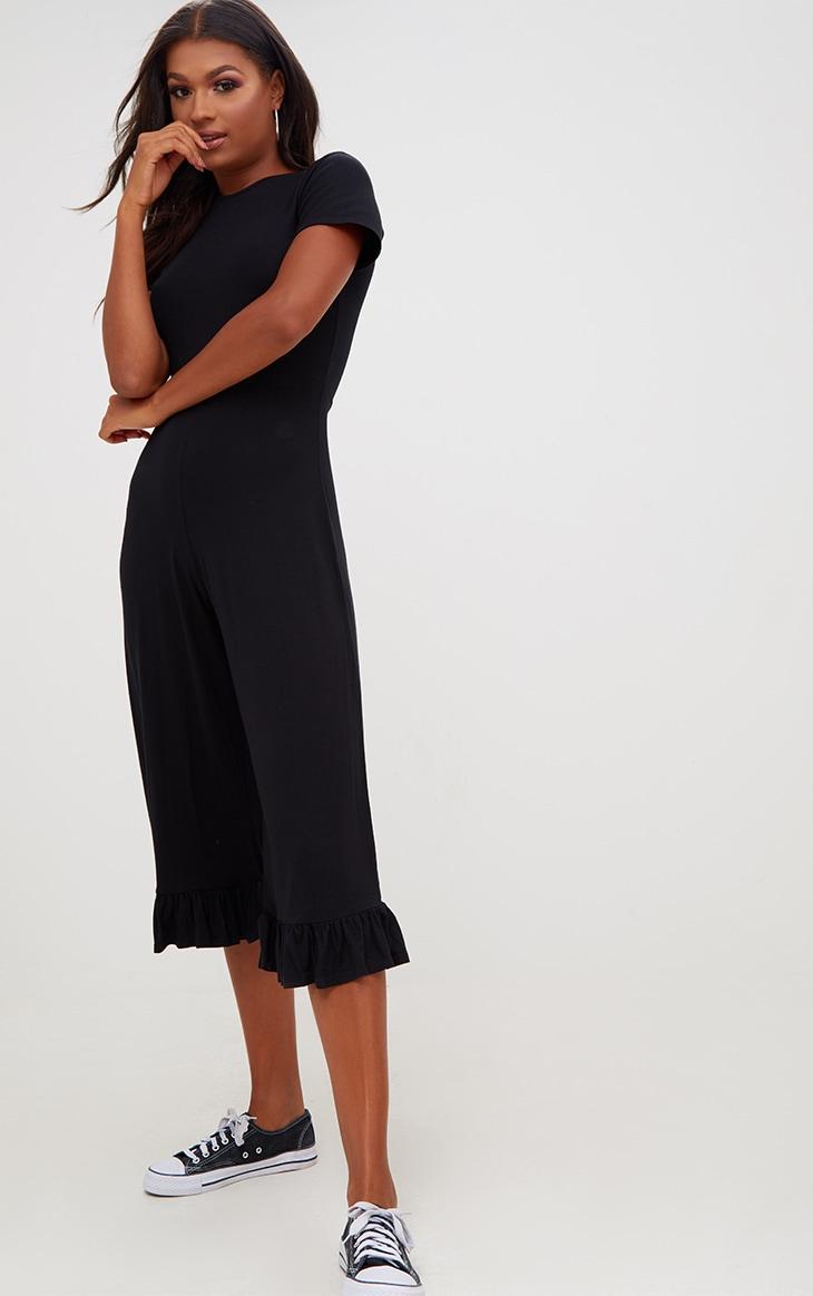 Black Jersey Short Sleeve Frill Hem Culotte Jumpsuit 4
