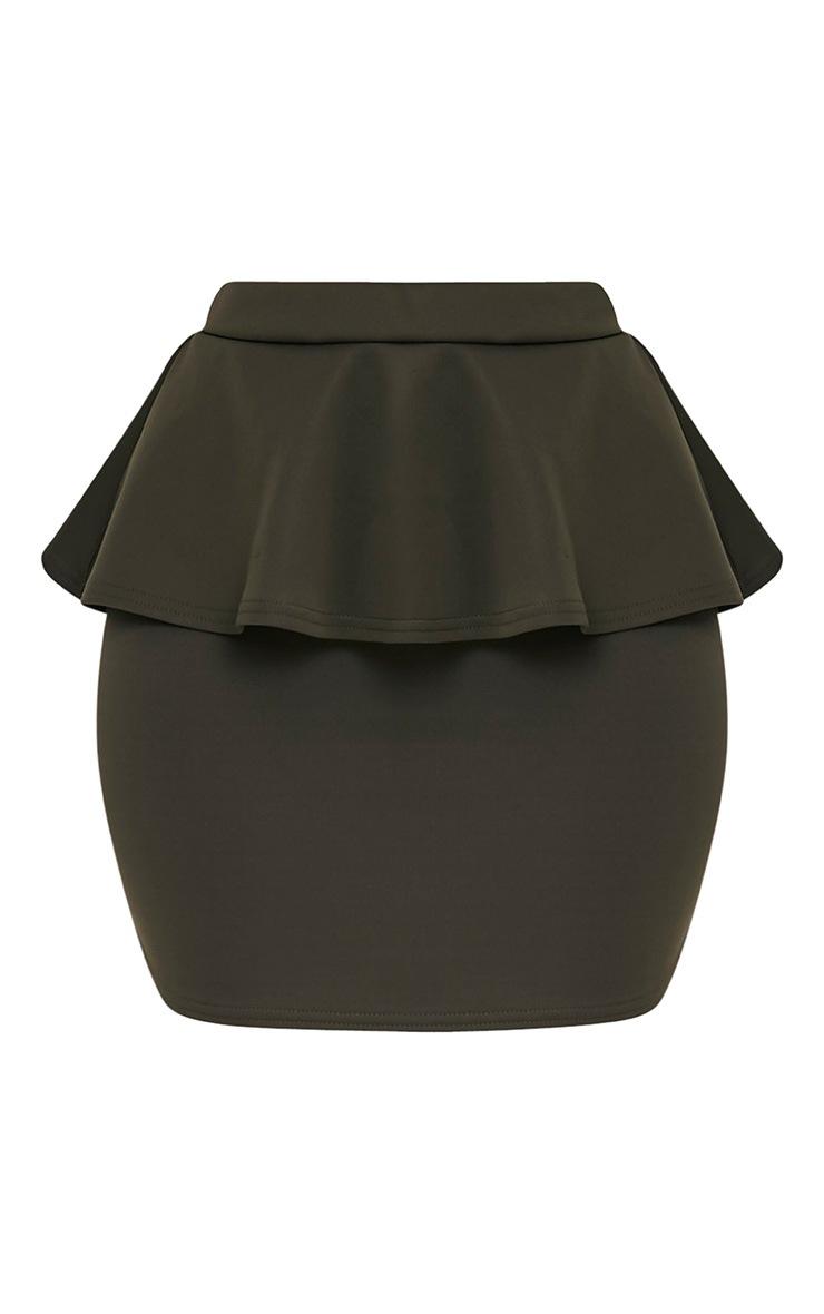 Mariela Khaki Peplum Scuba Mini Skirt 3