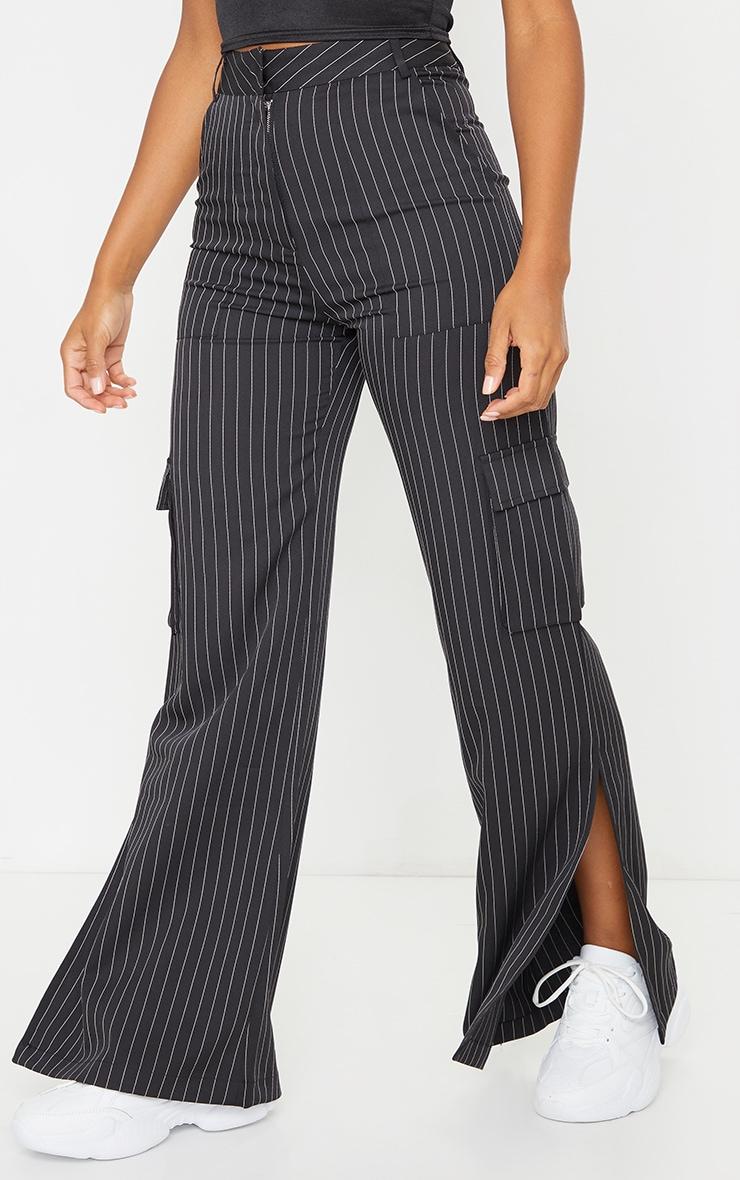 Black Pinstripe Wide Leg Pocket Detail Trousers 2