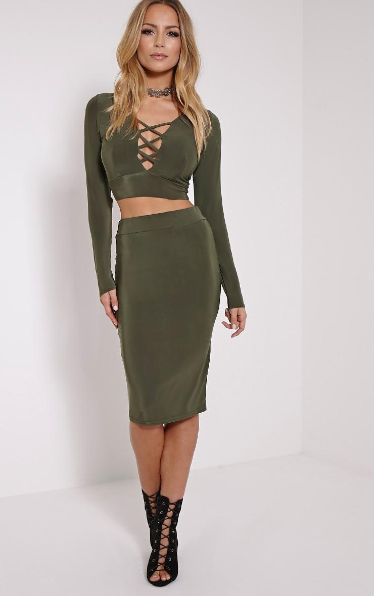 Malin Khaki Midi Skirt 1