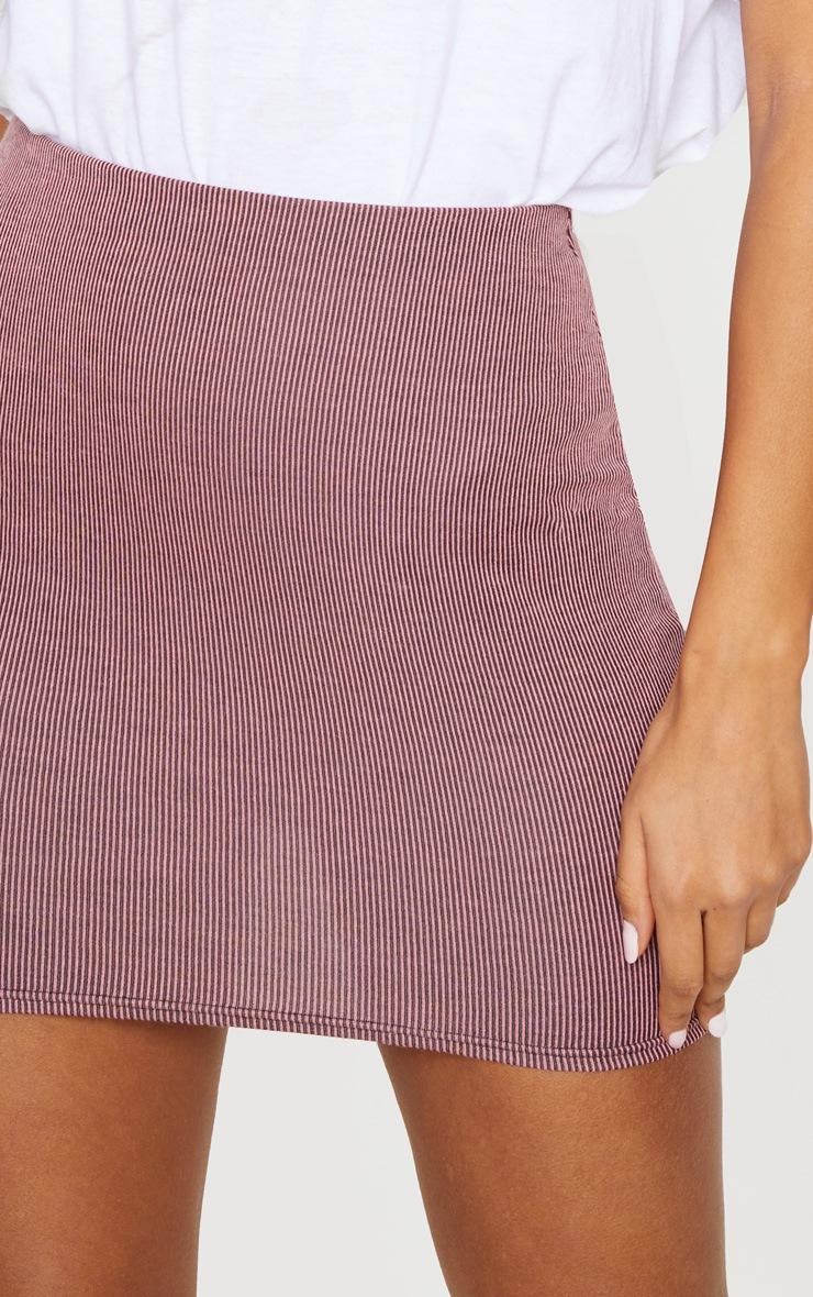 Pink Contrast Rib Mini Skirt 5