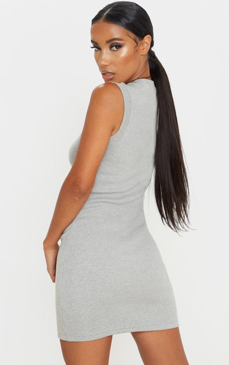 Grey Round Neck Ribbed Mini Dress 2