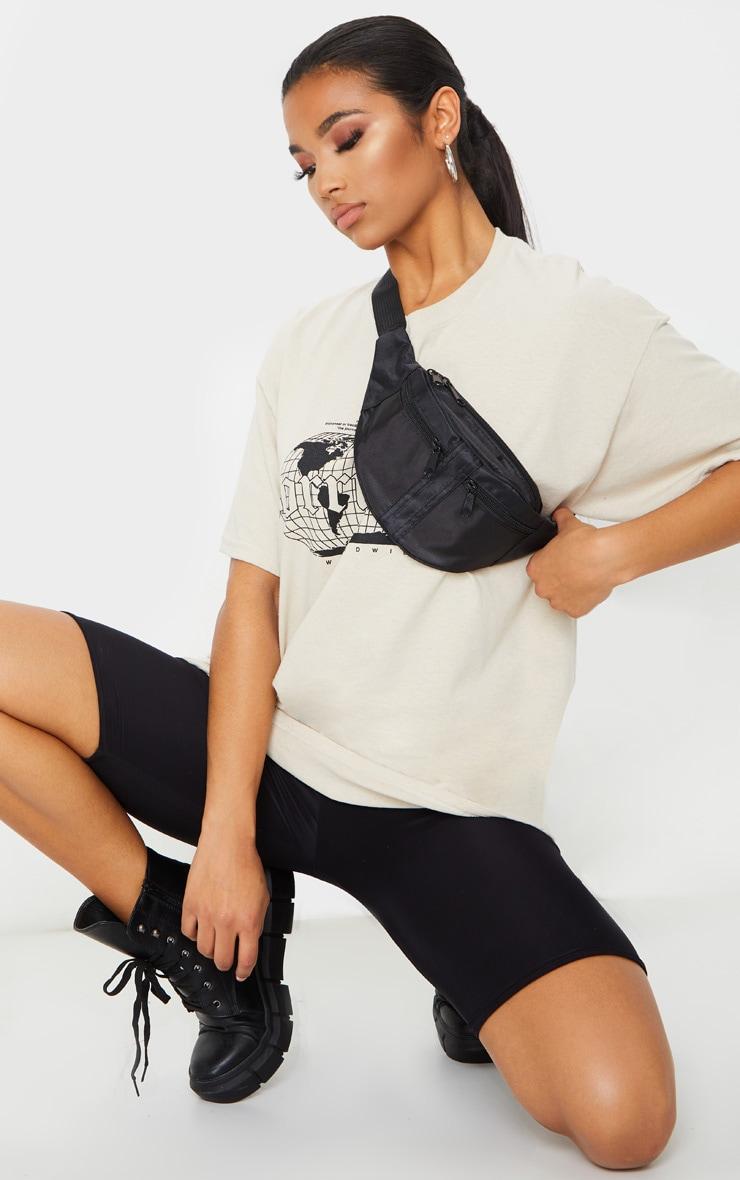 Black Double Zip Bum Bag 1