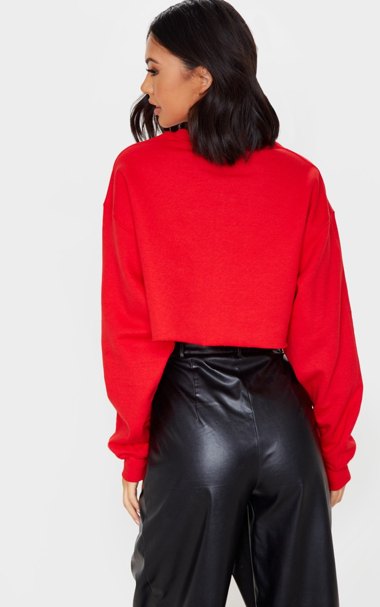 Red Let's Get Piste Cropped Sweatshirt 2