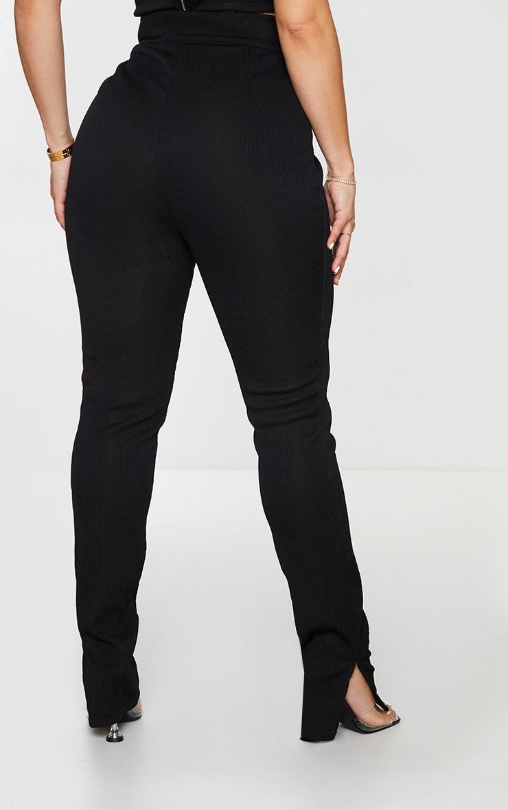 Shape Black Wide Rib High Waist Split Hem Pants 3