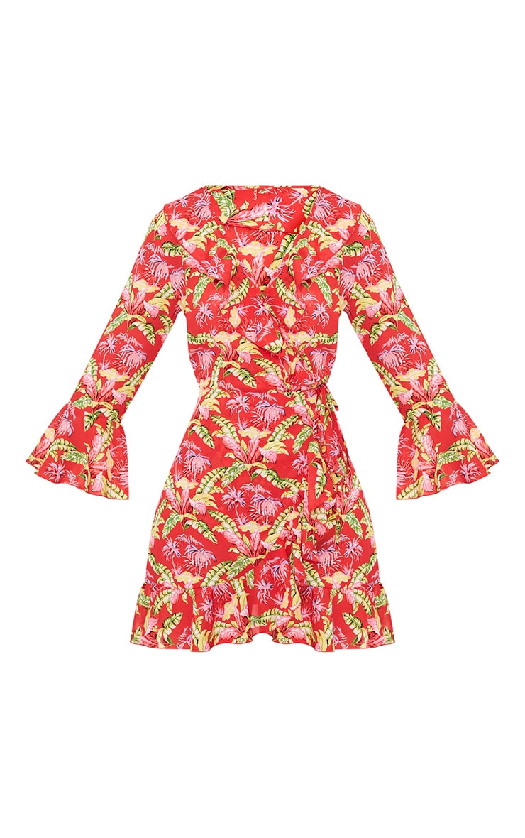 Ivy Red Floral Print Frill Wrap Tea Dress  3
