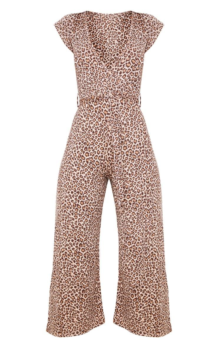 Tan Leopard Print Wrap Culotte Jumpsuit 3
