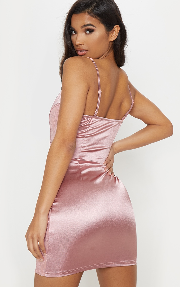 Rose Satin Piped Lace Insert Bodycon Dress 2