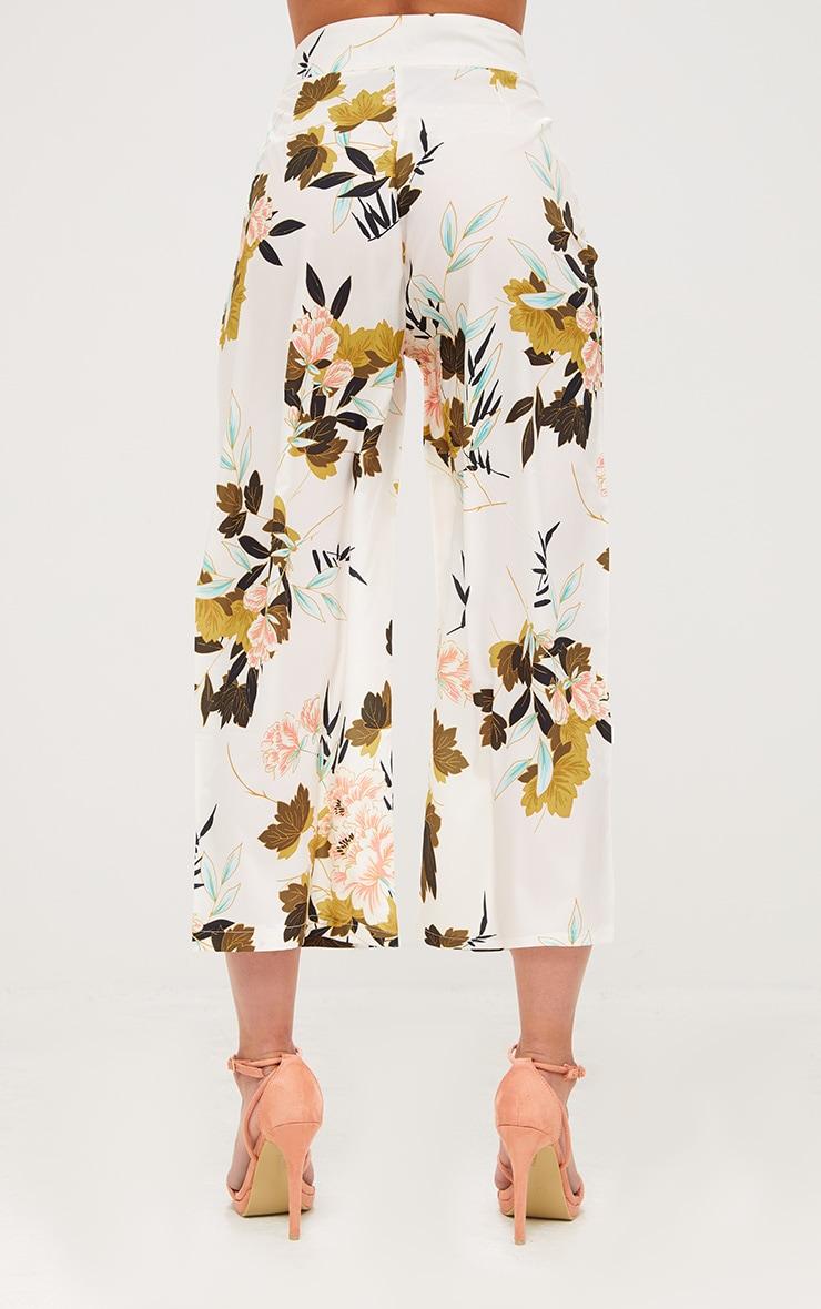 Jupe-culotte kimono floral crème 4