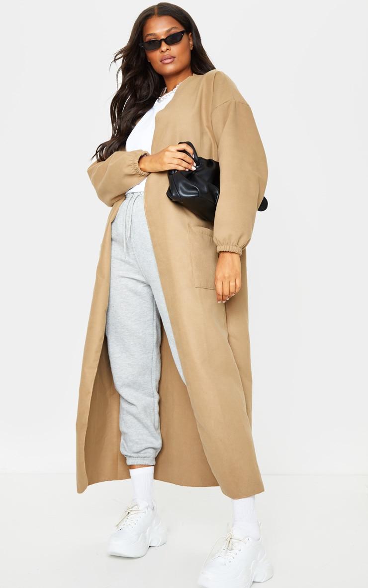 Camel Balloon Sleeve Maxi Pocket Front Coat 3