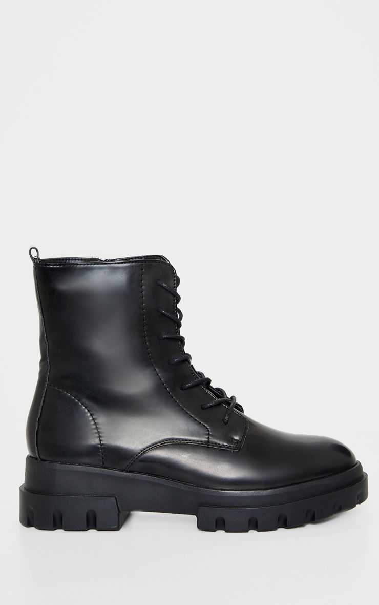 Black Chunky Sole Cleat Lace Up Ankle Boot 3