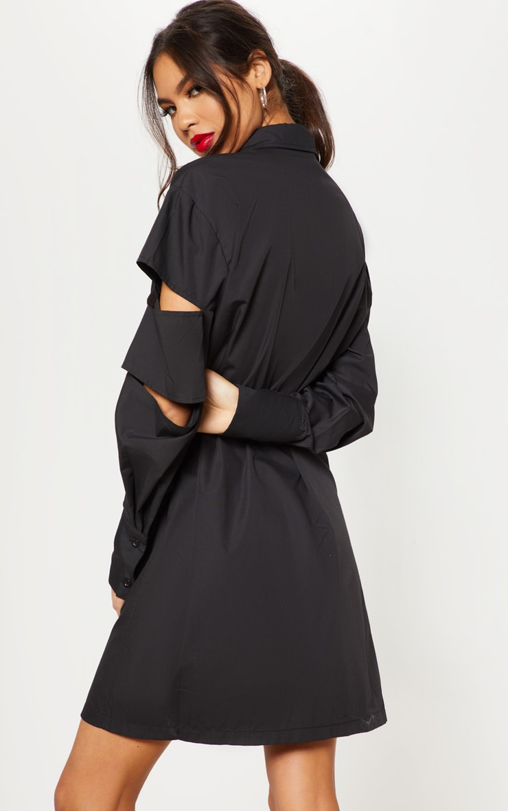 Black Split Sleeve Oversized Shirt Dress  2
