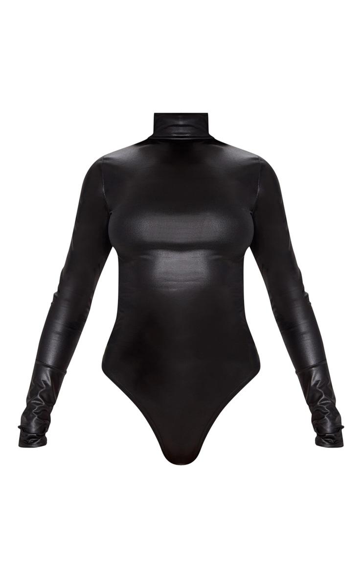 Black High Shine Bodysuit 3