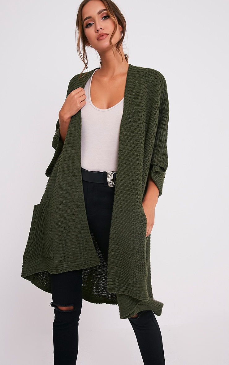 Yazmine Khaki Chunky Knit 3/4 sleeve Wrap Cardigan 4