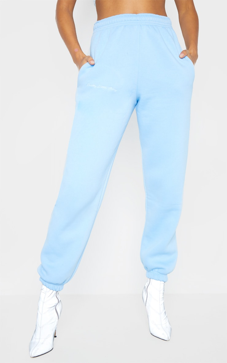 PRETTYLITTLETHING Pastel Blue Embroidered Jogger 2