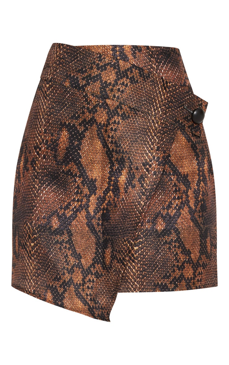 Brown Printed Button Detail Wrap Mini Skirt 3