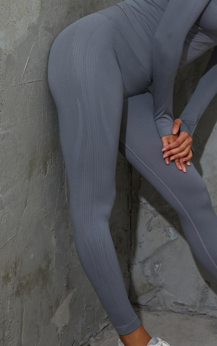 Grey Basic Detail Seamless High Waist Gym Legging 4