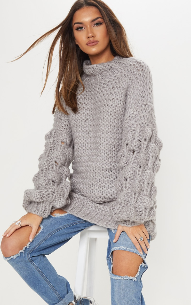 Grey Oversized Jumper Knitted 1