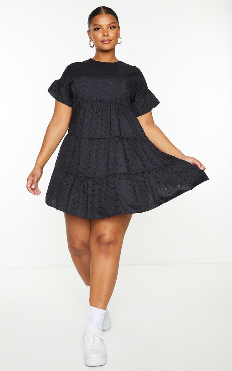Plus Black Broderie Anglaise Smock Dress 4