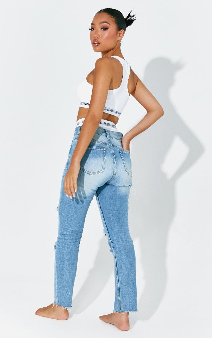 Petite Light Wash Distressed Mom Jeans 3