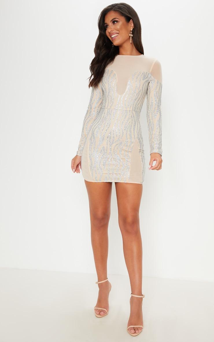 Nude Glitter Mesh Insert Bodycon Dress 4