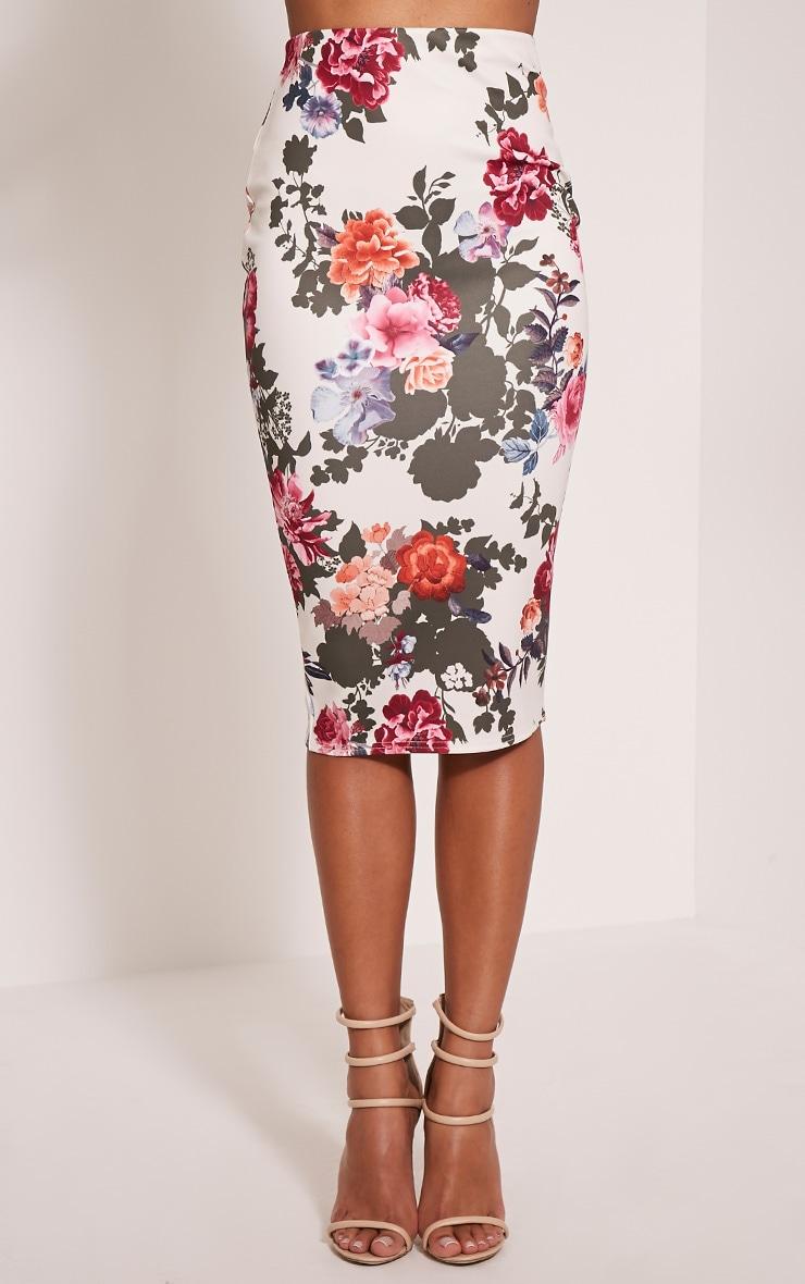 Francesca Cream Floral Print Scuba Midi Skirt 2