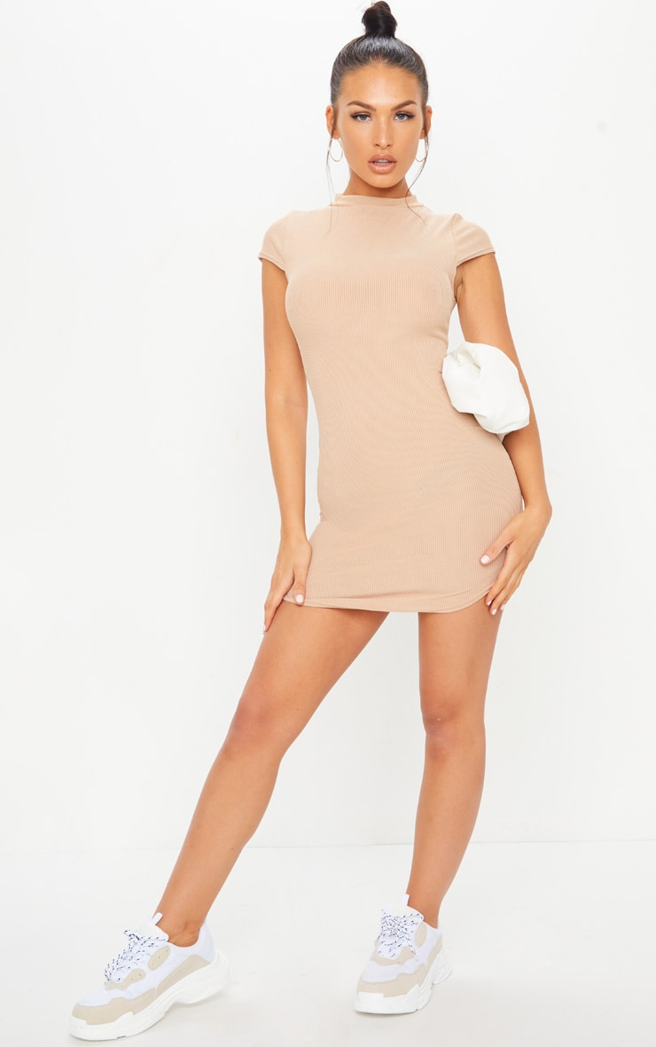 Stone Ribbed High Neck Bodycon Dress 3