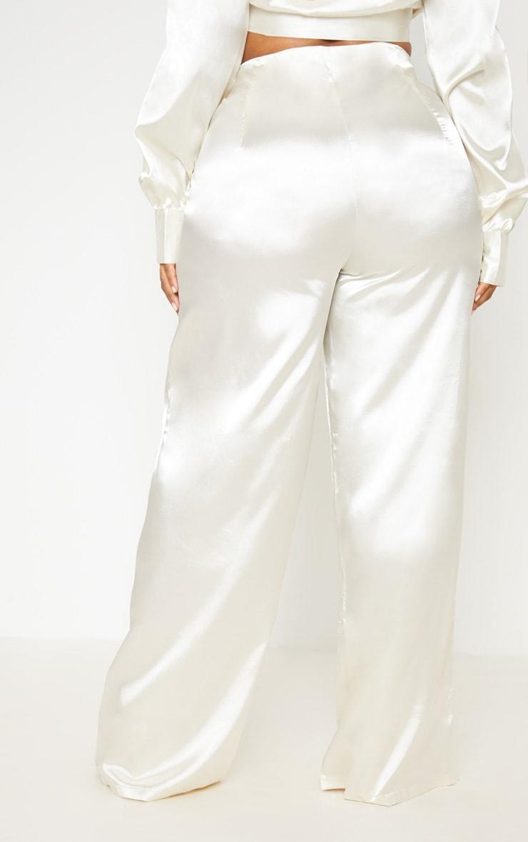 White Satin Wide Leg Pants 5
