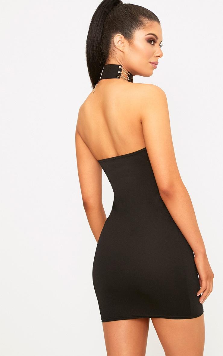 Black Bandaeu Tie Front Bodycon Dress 2