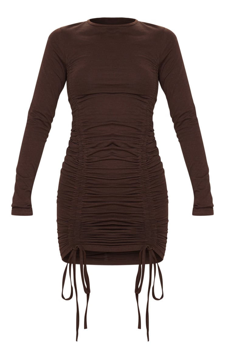 Chocolate Long Sleeve Ruched Front Bodycon Dress 3