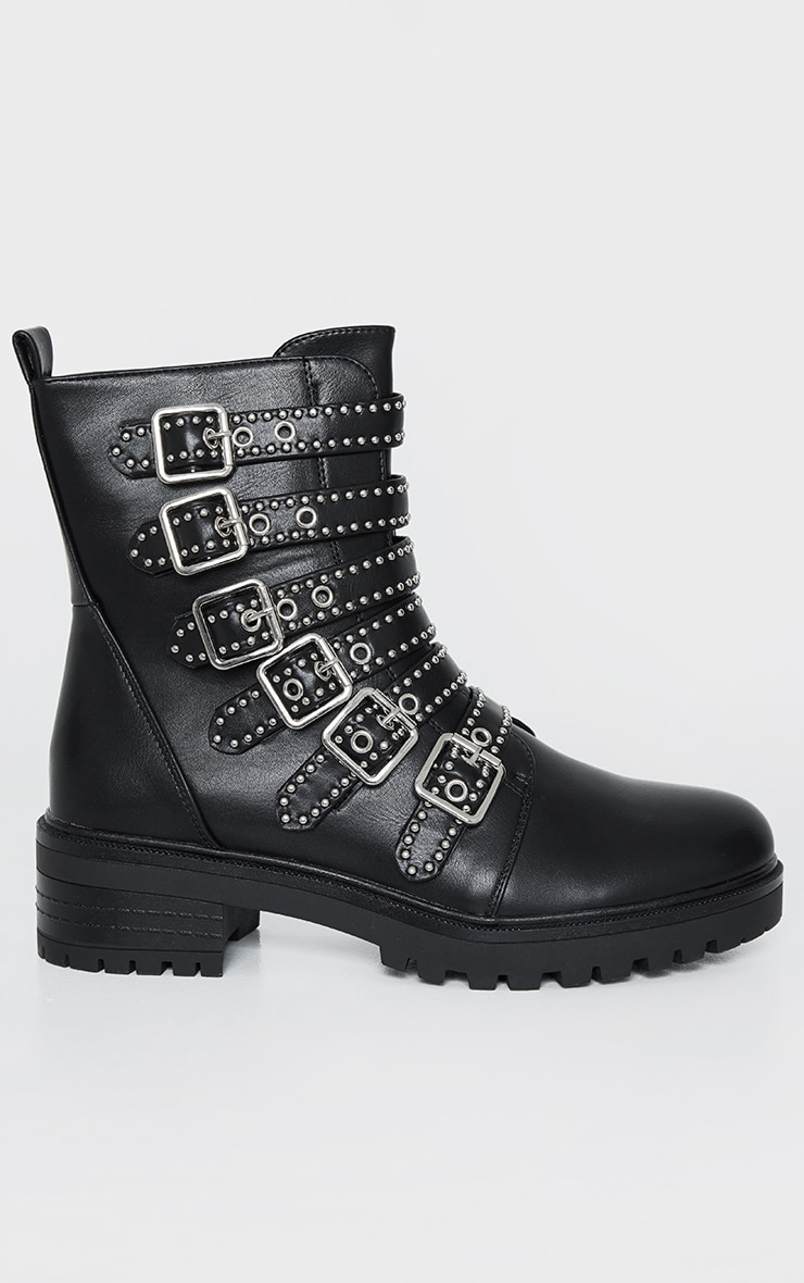 Black Studded Buckle Strap Cleated Biker Boot 3