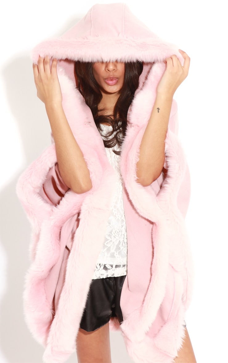 Mada Pink Hooded Faux Fur Cape 1