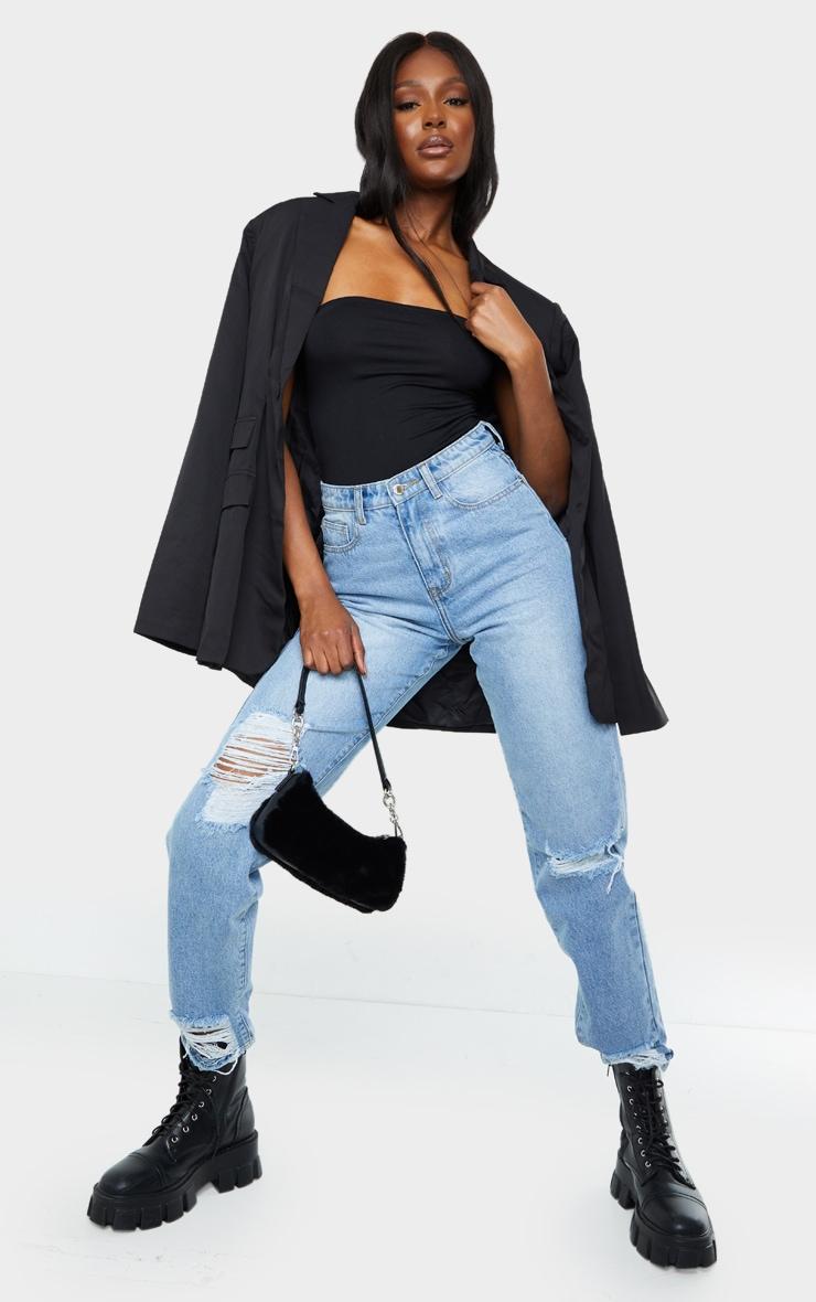 Tall Black Bandeau Bodysuit 3