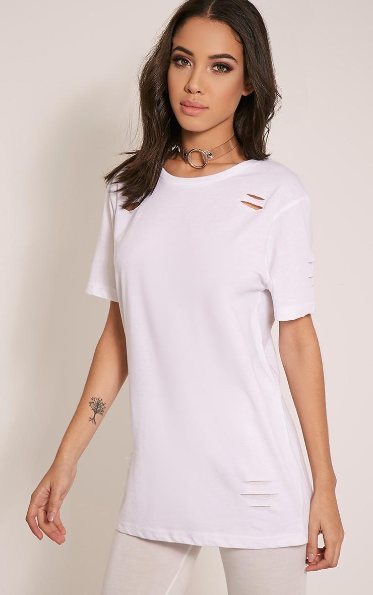 Zinnia White Ripped Oversized Boyfriend T-Shirt 4