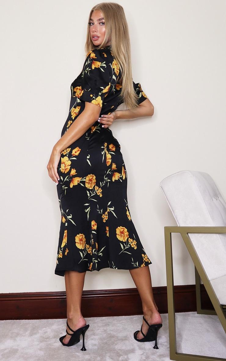Black Floral Puff Sleeve Draped Neck Midi Dress 2