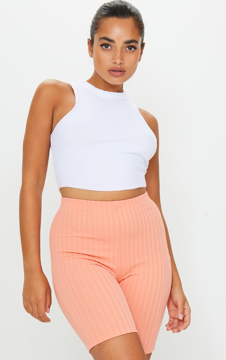 Petite Peach Crinkle Cycle Shorts 1