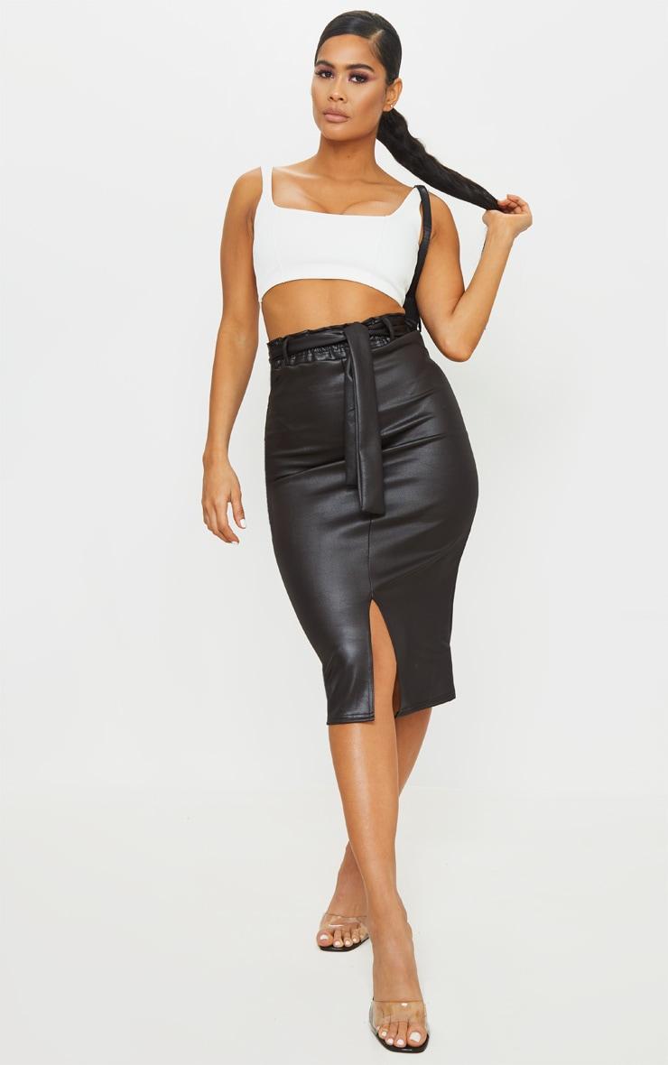 Black Coated Tie Waist Midi Skirt 1