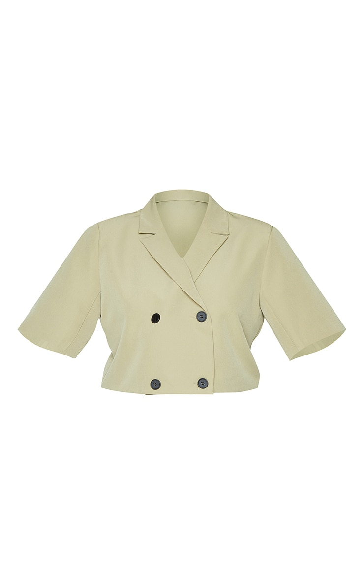 Plus Sage Green Woven Double Breasted Cropped Short Sleeve Blazer 5