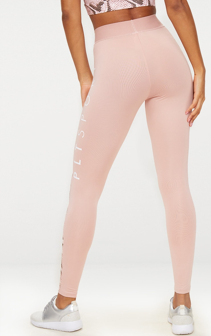 PRETTYLITTLETHING Pink Leggings with Pink Snake Contrast 4