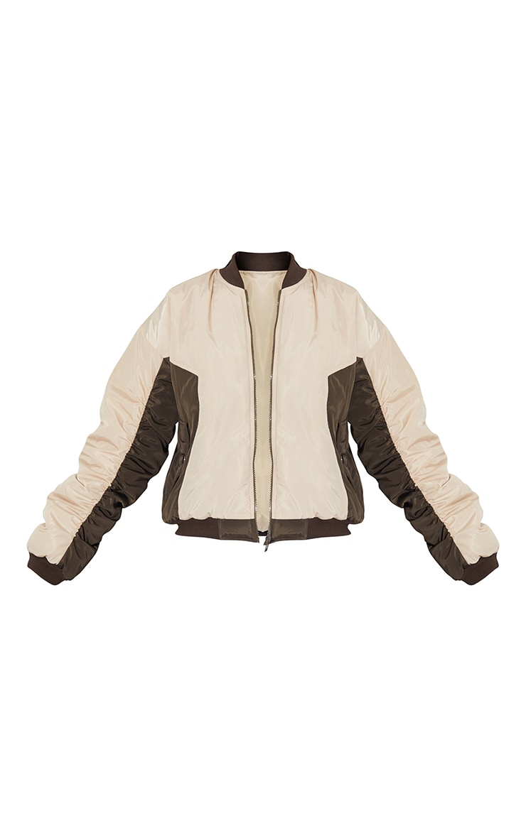Sand Nylon Contrast Cropped Bomber 5