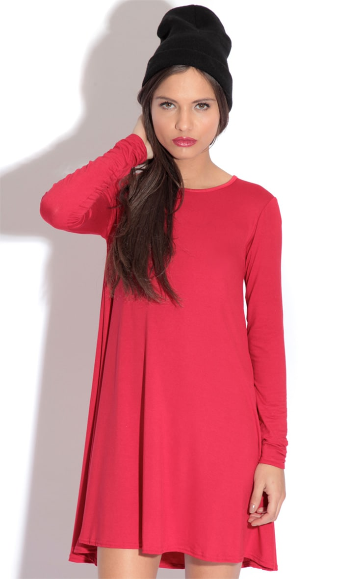 Rosetta Red Jersey Swing Dress 1