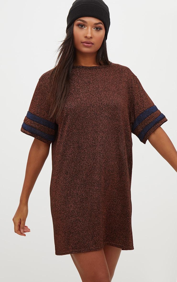 Bronze Lurex Sports Stripe T Shirt Dress 1