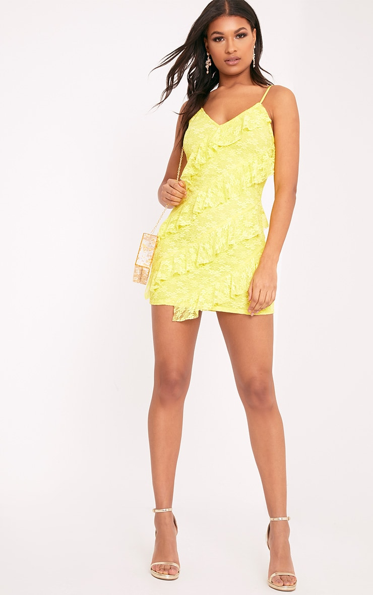Brittany Yellow Strappy Lace Frill Bodycon Dress 5