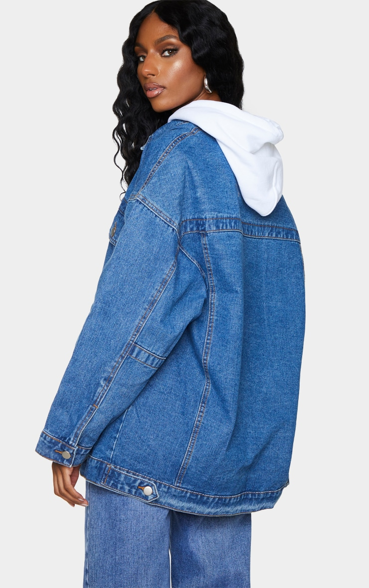 Mid Wash Oversized Pocket Detail Denim Shacket 2